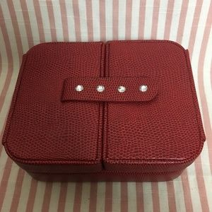 Handbags - Red Snakeskin Leather Jewelry Box with Rhinestones